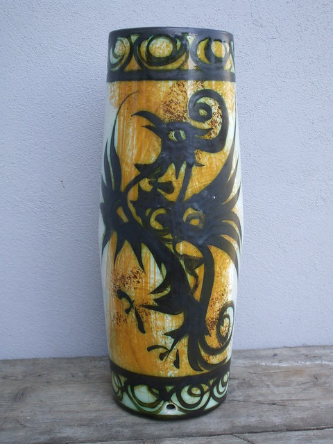 Huge Celtic Art Pottery Lampbase Made in Newlyn Cornwall Mid Century Modern Pheonix Design Bought for a Whole  £1  at a local car boot sale !!