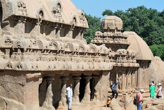 Tamil Nadu - Mamallapuram - Three of the Five Rathas - Bhima, Arjuna & Draupadi
