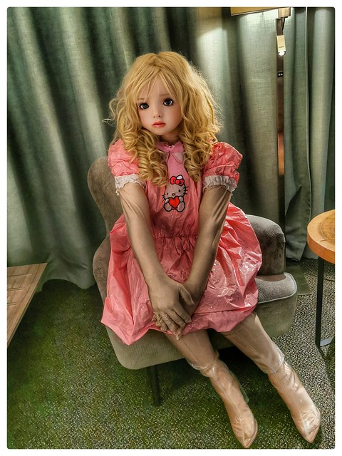 In my pink Hello Kitty Dress with transparent boots