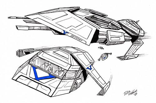 Inktober: Victorian starship Odyssey and Shuttles