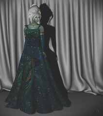 Temple Peacock Gown by The Looking Glass & Anya Leaf Skin by Wyrd