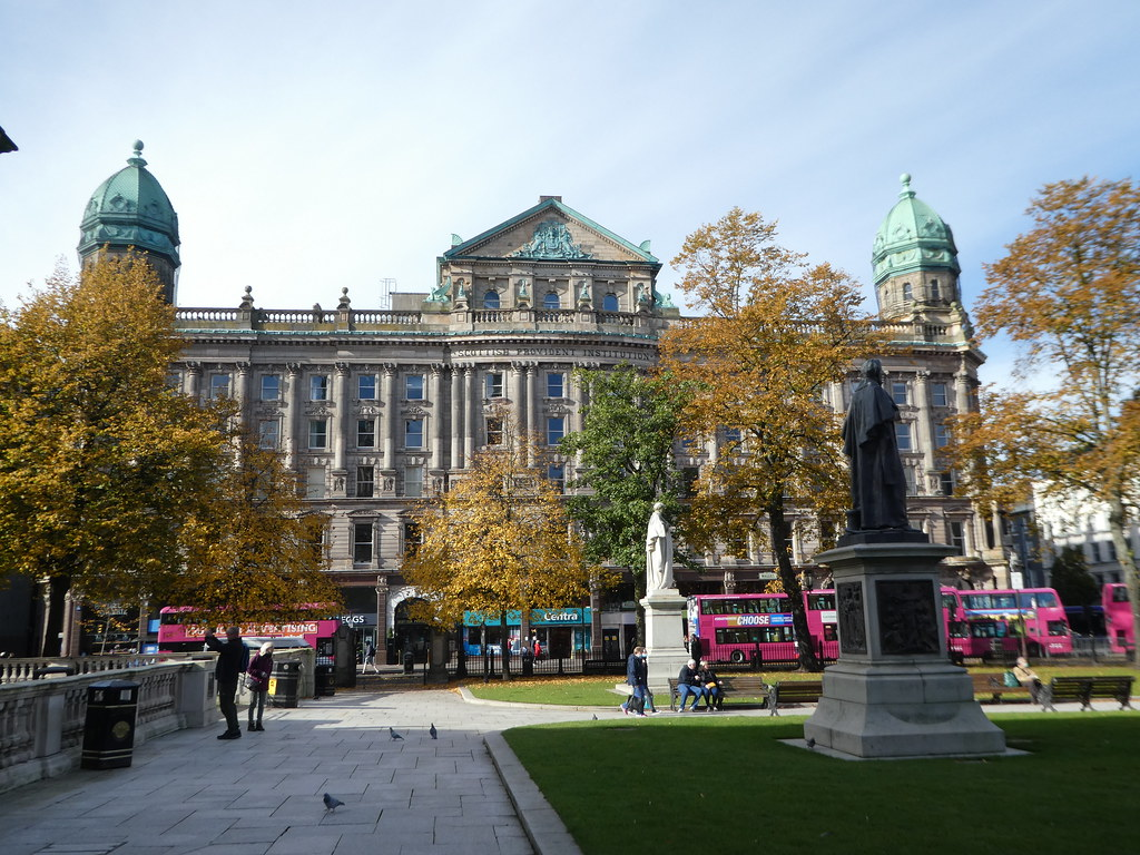 Beautiful buildings facing Belfast City Hall in Donegall Square