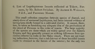 「羅伯特斯文豪於福爾摩沙打狗採集的鱗翅目昆蟲名錄」(List of Lepidopterous Insects collected at Takow, Formosa, by Mr. Robert Swinhoe.)論文。徐堉峰提供