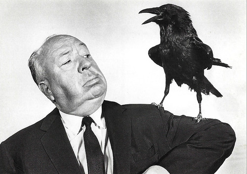 Alfred Hitchcock at the set of The Birds (1963)