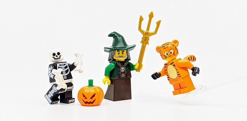 Lego Minifigure Halloween Pumpkin head witch hat