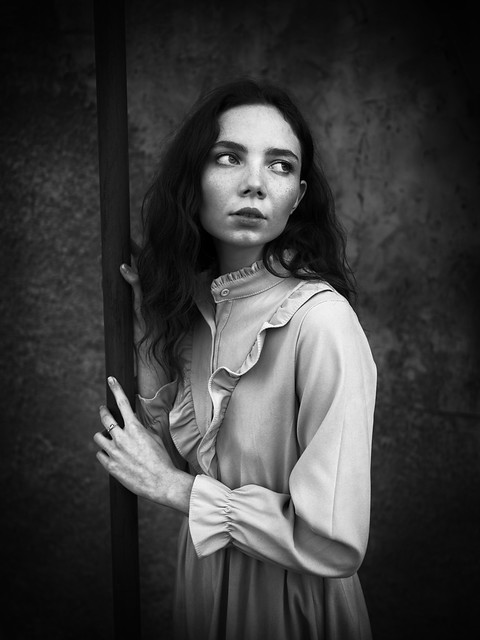 portrait of a young woman, abandoned city