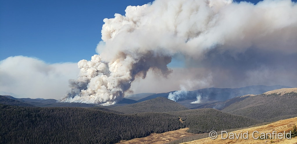 The Cameron Peak Fire sends smoke into the sky on October 7, 2020. (David Canfield)