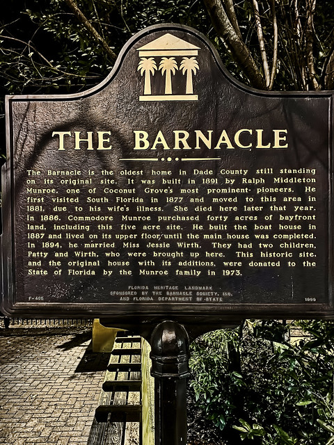 The Barnacle Historic State Park, 3485 Main Highway, Miami, Florida, USA / House Built: 1891 / Home of: Ralph Middleton Munroe