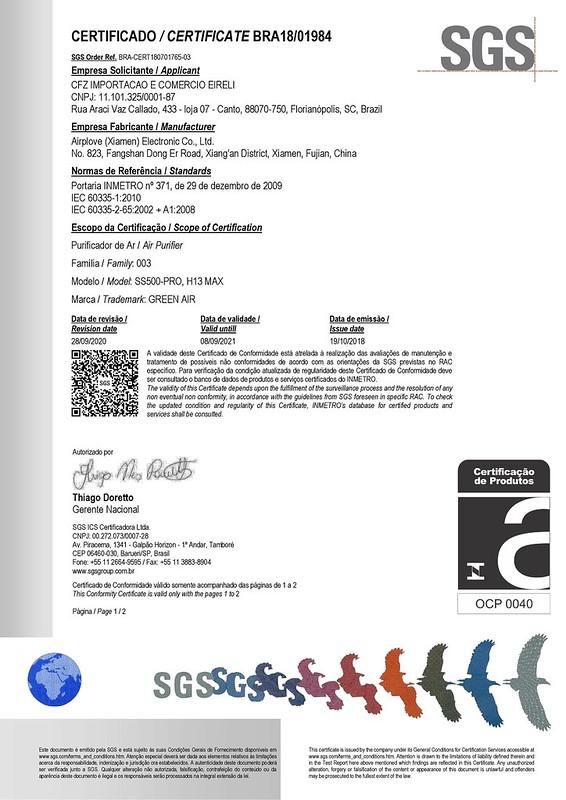 Certificado INMETRO para Purificador de Ar Green Air H13 MAX