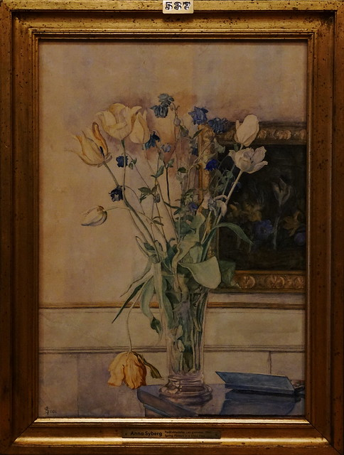 Anna Syberg - Spring Flowers in a Glass Vase - 1900 - Watercolour - Faaborg Museum