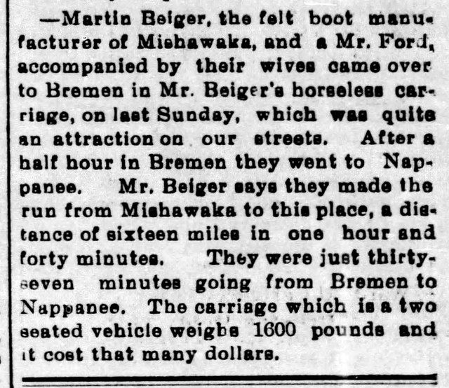 1899 - first auto in Bremen - Enquirer - 15 Sep 1899