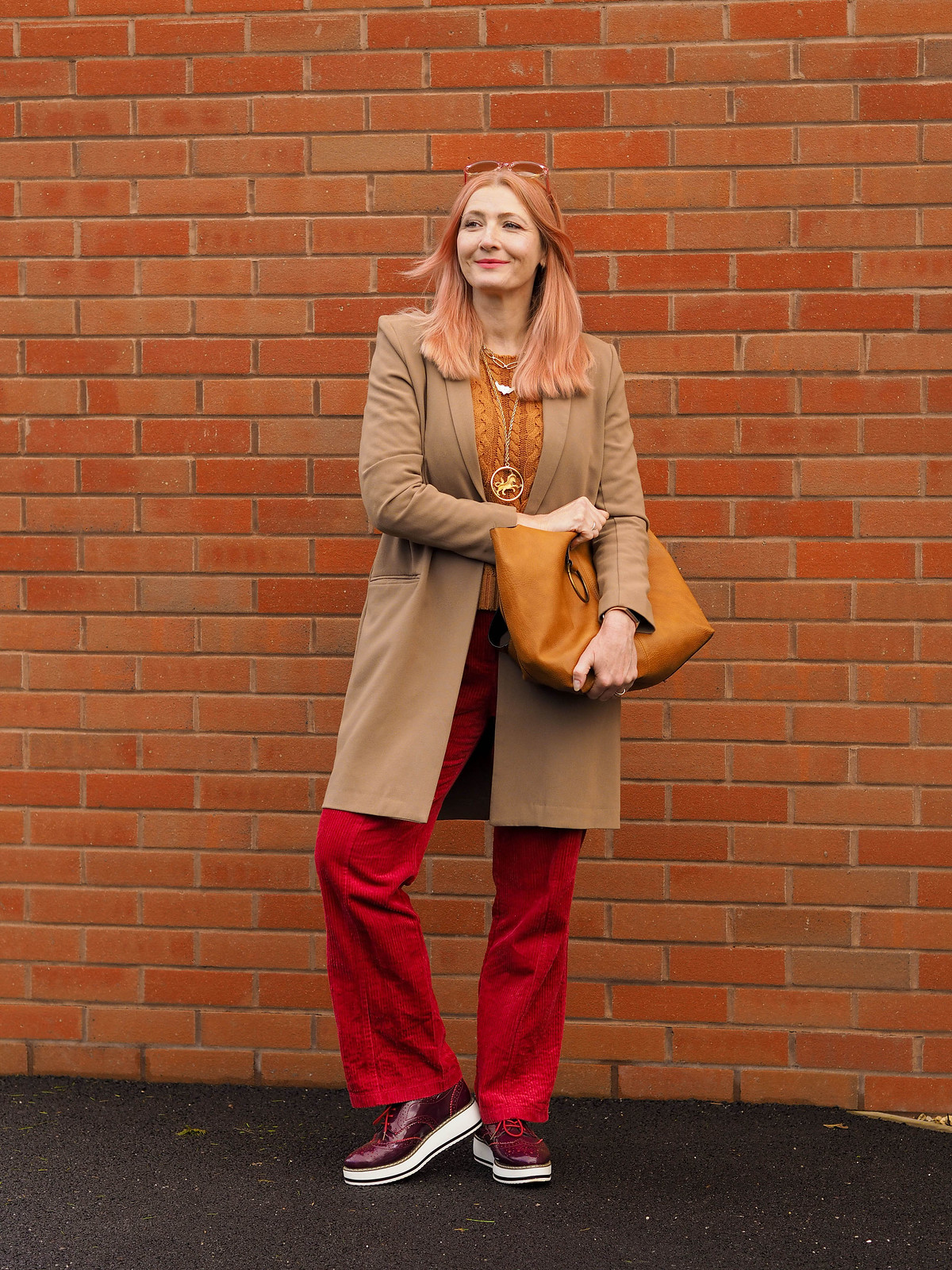A Fashun Swankathon in a Somerset Branch of Waitrose (Not Dressed As Lamb AKA Catherine Summers wearing brown longline blazer, red corduroy flared trousers, tobacco brown cable sweater and dark red platform lace-ups)