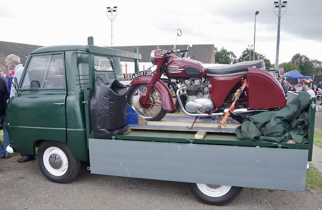 Triumph Bonneville on a Bedford Flatback