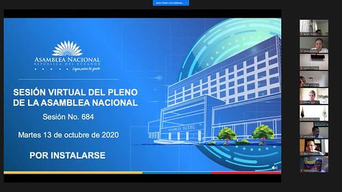 SESIÓN NO. 684 DEL PLENO DE LA ASAMBLEA NACIONAL. VIRTUAL. ECUADOR, 13 DE OCTUBRE 2020
