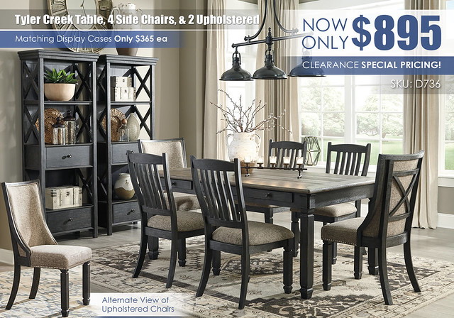 Tyler Creek Table 4 Side Chairs & 2 Upholstered_D736