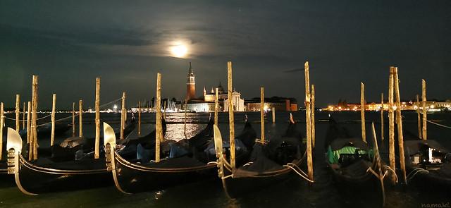 Moonlight over gondolas