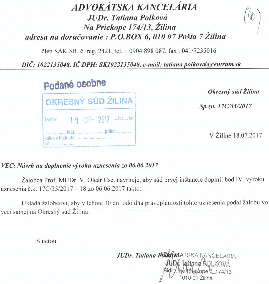 Návrh žalobcu