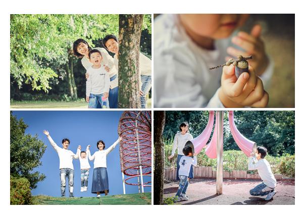公園で家族写真 年賀状用
