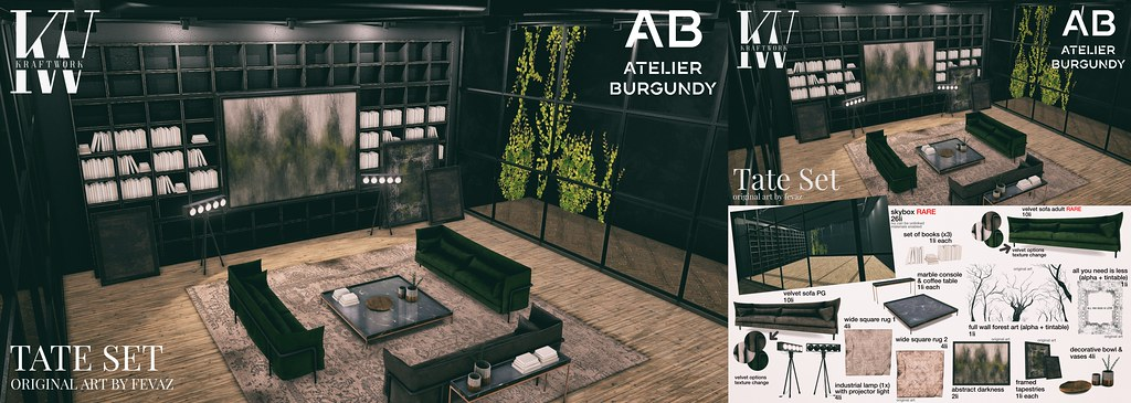 KraftWork + Atelier Burgundy . TATE Set