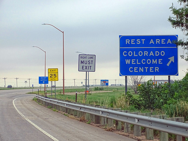 Sign for Colorado Welcome Center on I-70 West, 14 July 2020