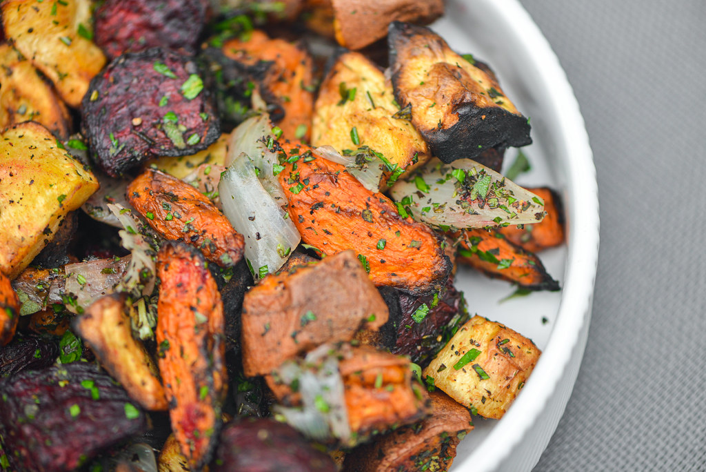 Grilled Herb-crusted Root Vegetables