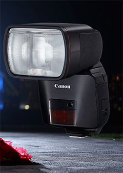 Designed to meet the needs of professional users, Canon's new flagship Speedlite EL-1 is the first flash model to bear the iconic red line, a symbol of high quality, performance and durability. It features a new xenon tube that provides highly stable arc discharge and ensures durability.