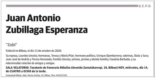 Esquela Juan Antonio Zubillaga Esperanza