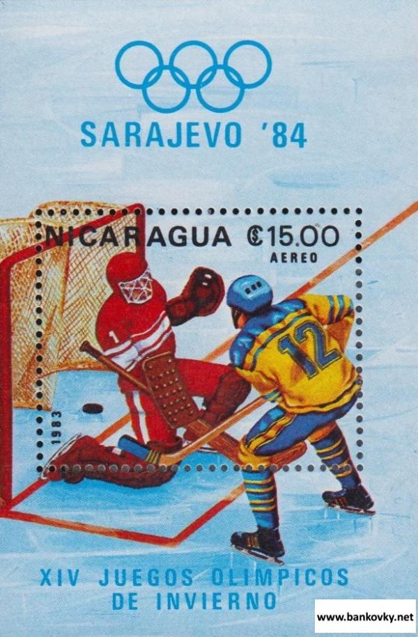 Známky Nikaragua 1983 Hokej ZOH Sarajevo 84 MNH hárček
