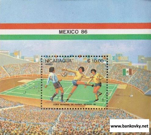 Známky Nikaragua 1985 Futbal MS 86 Mexiko hárček MNH