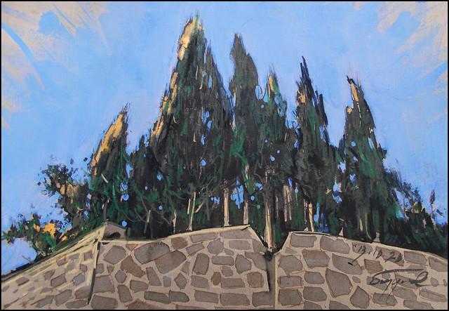 CYPRESS TREES IN LAZURNOYE (EN-PLEIN-AIR SKETCH)
