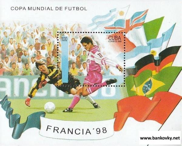 Známky Nikaragua 1998 Futbal MS 98 Francúzsko hárček MNH