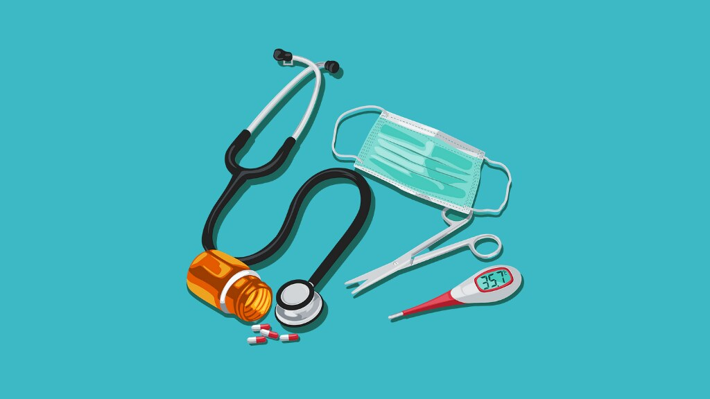 A graphic of healthcare items