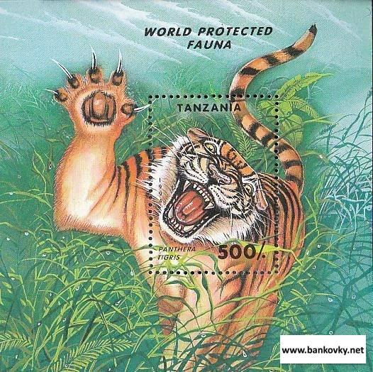 Známky Tanzánia 1994 Chránené zvieratá, hárček MNH