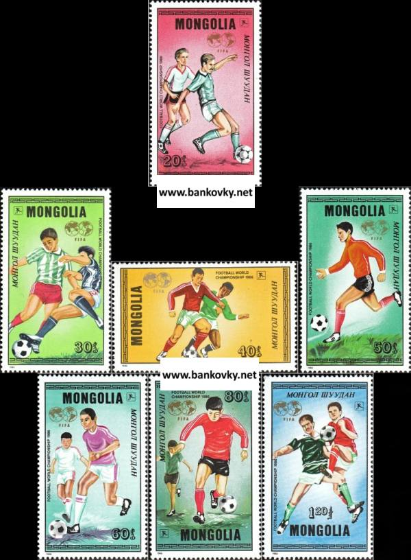 Známky Mongolsko 1986 MS vo futbale Mexiko 86 séria MNH