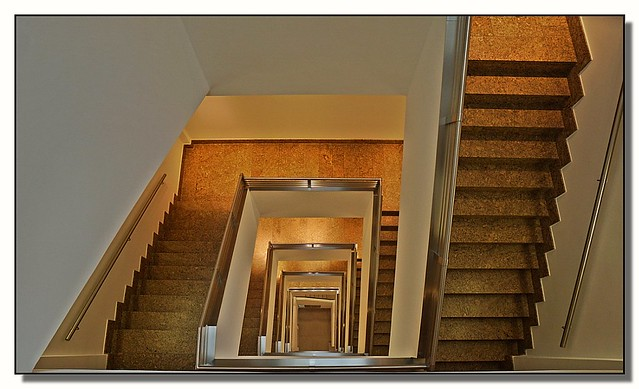 Looking down the staircase