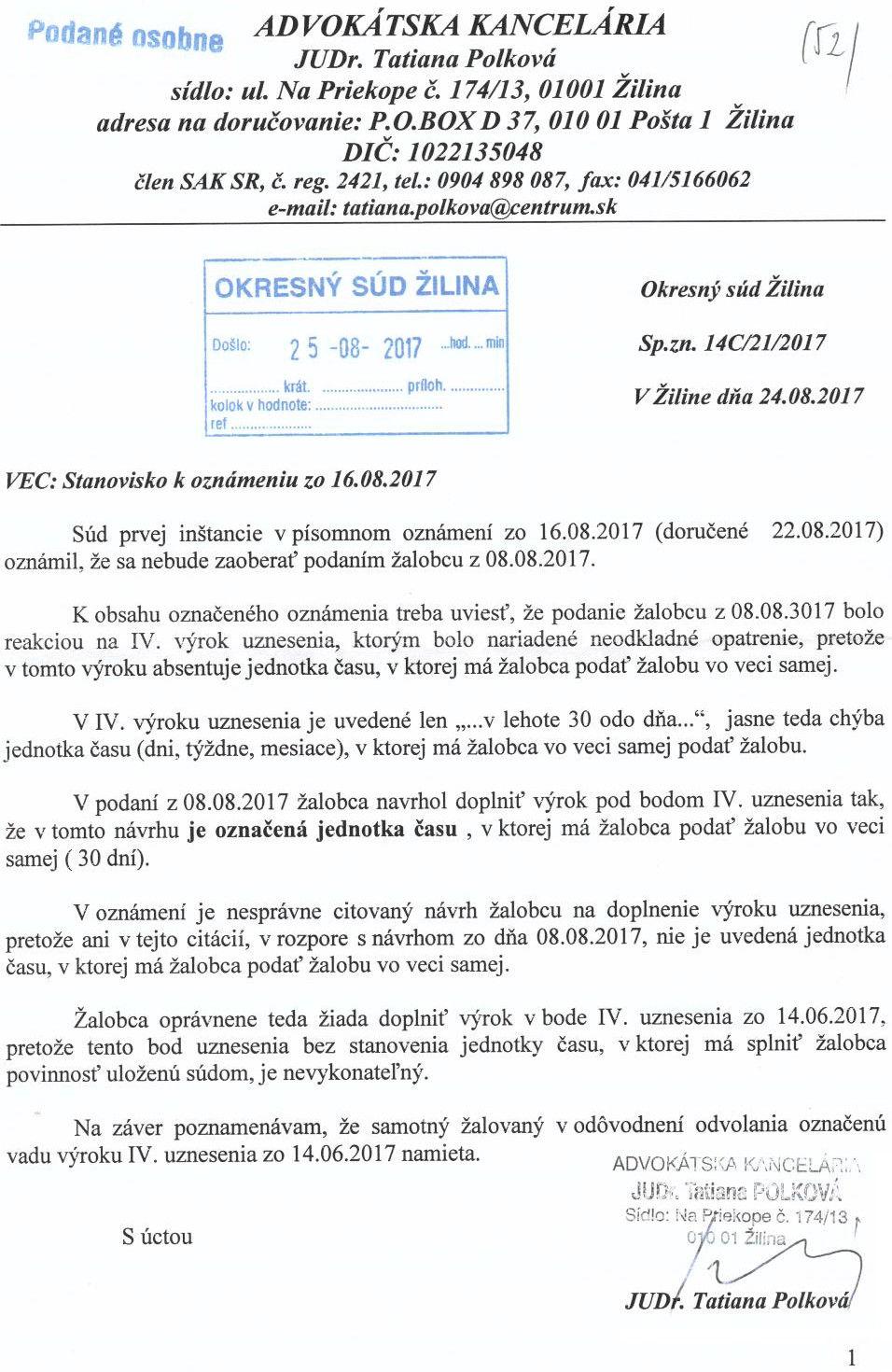 Stanovisko k oznámeniu zo 16.VIII.2017