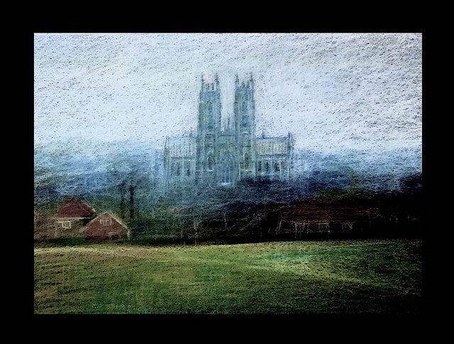 Towers in the mist. Polychromos Pencil only drawing by jmsw on black card. Beverley Minster from the Westwood .