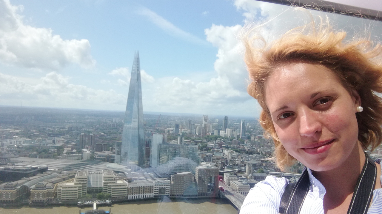 Photo of PhD student Anna Conzatti with the London Shard in the background