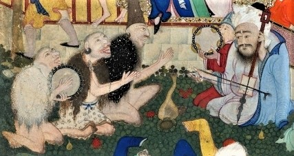 On the left, three kneeling men with shaved heads, bare legs, and capes of fur are singing together. One of them plays a tambourine, and the other two are clapping. Facing them on the right are two kneeling men wearing robes and turbans, one of them holding a tambourine while the other plays an upright stringed instrument.