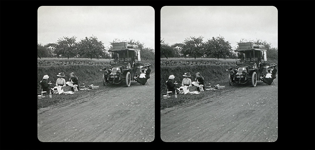 Small Picnic by the side of the road-02a-1910-Near Rouen