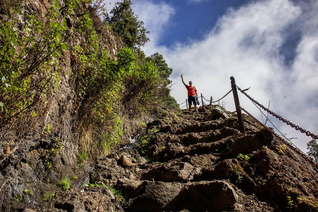 Zona de ascenso a la salida del túnel 12 en los nacientes de Marcos en La Palma