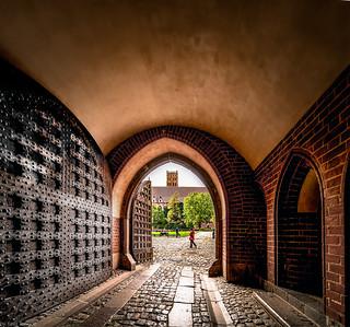 View of inside Malbork Castle from the main entrance/moat, Malbork, Poland.  053-Edita