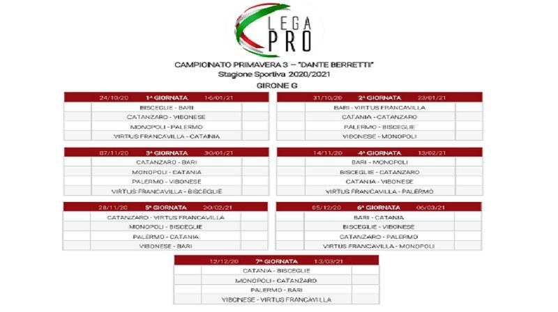 Girone G, estratto dal calendario del campionato Primavera 3 - Dante Berretti stagione 2020-21
