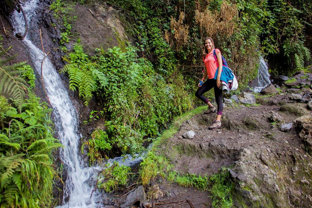 Cascada de agua procedente de los Nacientes de Marcos en La Palma