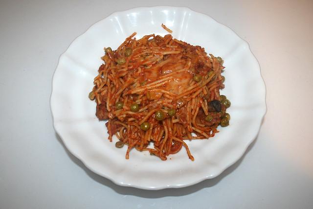Spaghetti casserole with leek & mushrooms - Leftovers V / Spaghetti-Auflauf mit Lauch & Pilzen - Resteverbrauch V
