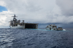 A Mark VI patrol boat exits the well deck of USS Comstock (LSD 45) during operations in the Philippine Sea, Oct. 9. (U.S. Marine Corps/Sgt. Manuel A. Serrano)