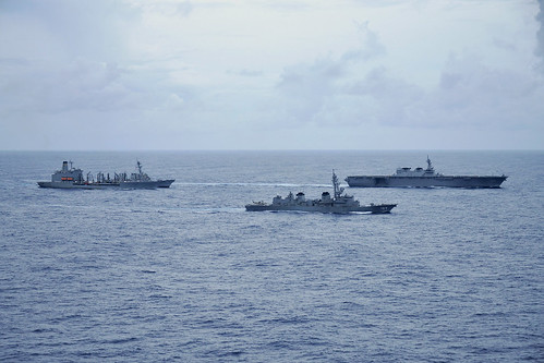 USS John S. McCain and USNS Tippecanoe sail with JMSDF JS Kaga and JS Ikazuchi in the South China Sea | by #PACOM