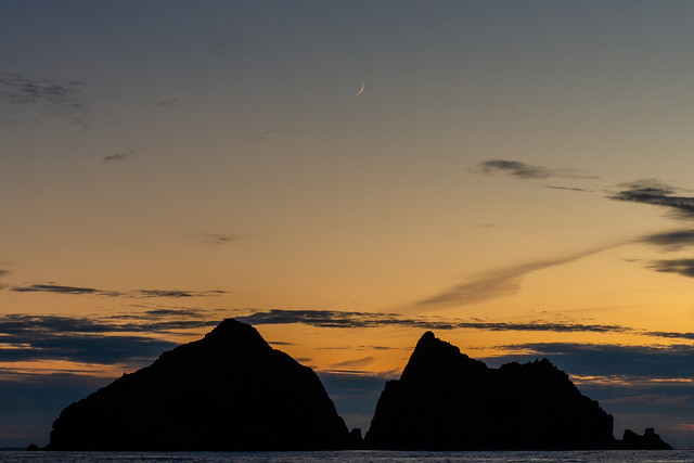 Crescent Moon over Holywell Bay #2, Cornwall, South West England
