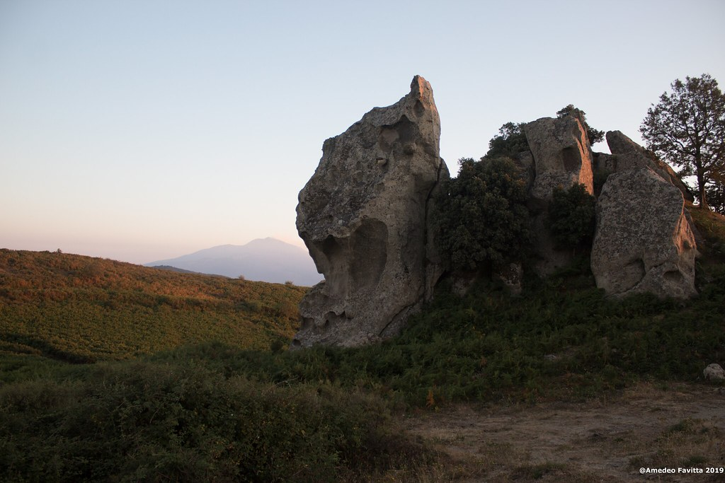 Lion's rock and Etna from Argimusco, Sicily