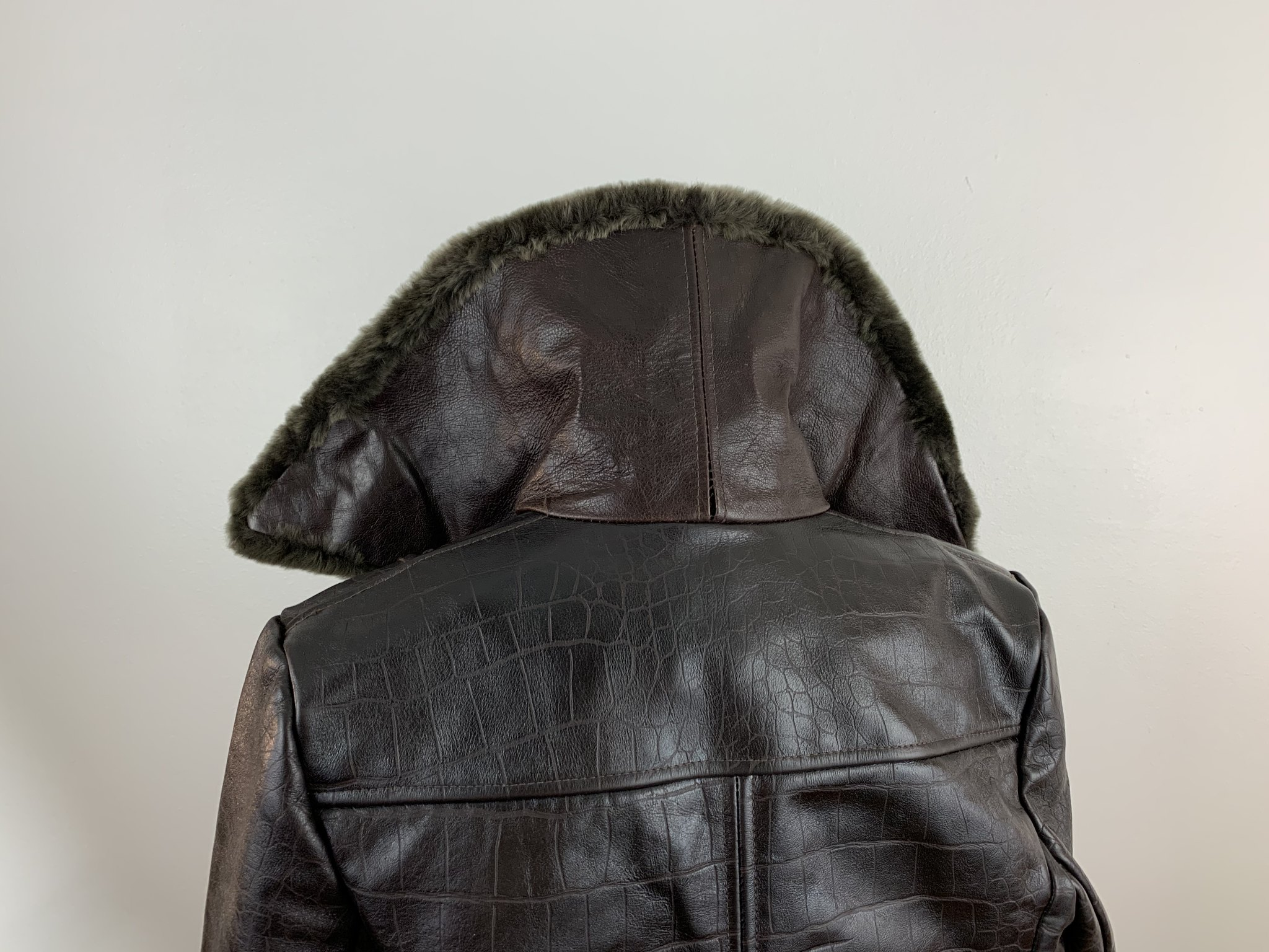 Crocodile Embossed Leather and Shearling Jacket
